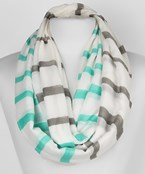 Two Color Stripe Print Infinity Scarf
