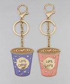 Coffee & Latte Cup Key Chain