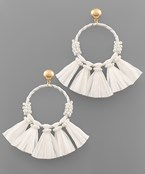Large Raffia Circle & Tassel Earrings