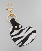 Zebra Heart Key Chain