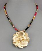 Flower & Fabric Necklace