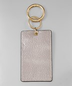 Metallic Leather ID Key Chain