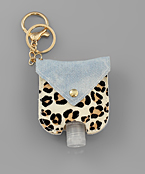 Denim & Cheetah Print Sanitizer Key Chain