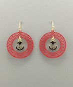 Anchor & Filigree Circle Earrings