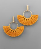 Fan Tassel Circle & Bar Earrings