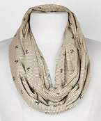 Anchor/Stripe Seamless Double Layer Infinity Scarf
