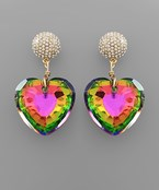 Crystal Pave Heart Earrings