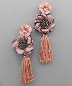 Double Flower Tassel Earrings