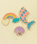 Clam & Mermaid Pin Set