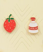 Strawberry & Milk Pin Set