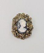 Cameo & Flower Pin