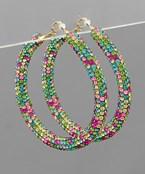 50mm Multi Crystal Pave Hoops