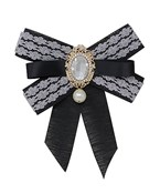 Lace & Pearl Ribbon Pin