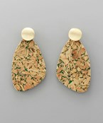 Cork Uneven TearDrop Earrings