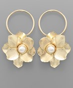 Pearl Flower & Circle Earrings