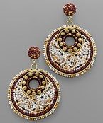 Beaded Gradual Circle Earrings