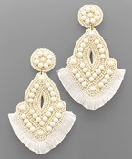 Bead Marquise Fan Tassel Earrings