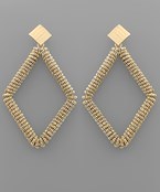 Metal Cord Rhombus Earrings