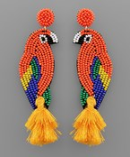 Bead Parrot Tassel Earrings