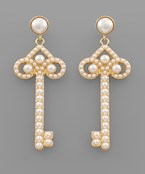 Pearl Key Earrings
