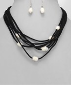 Layered Suede Pearl Necklace