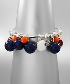 COLLEGIATE:Football Dangle w/Ball Wire Cuff Brclt.
