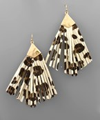 Leopard Tassel Fan Earrings
