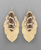 Layer Snake Feather Earrings