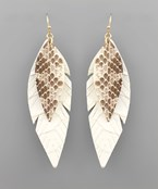 Layer Snake Narrow Feather Earrings