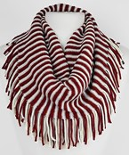 INFINITY:COLLEGE COLOR Stripe Knit w/Fringe Scarf.