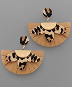 Leopard Wedge Fan Earrings