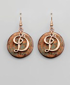 Patina Initial Earrings