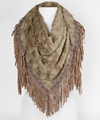 Tribal Trimmed Fur Scarf