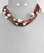 Pearl & Leather Necklace