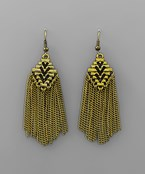 Triangle and Tassel Earrings