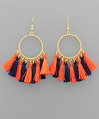 Gameday Tassel Circle Earrings