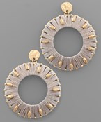 Thread & Stud Circle Earrings