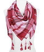 Game Day Plaid Large Square Scarf,100% Polyester