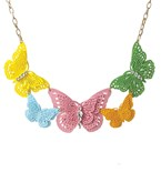 5 Color Filigree Butterfly Necklace