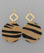 Cowhide Disc & Clover Earrings
