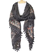 Paisley Embroidered PomPom Scarf
