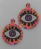 Evil Eye Seed Bead Circle Earrings