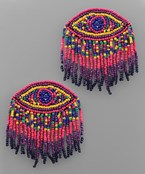 Evil Eye Tassel Seed Bead Earrings