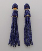 Sead Bead Post & Tassel Earrings