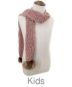 Kids Fur PomPom End Cable Knit Scarf