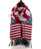 USA Pattern Shawl w/Tassels
