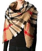 Plaid Print Knit Scarf