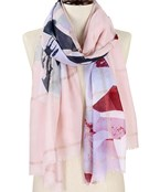 Flower Print & Lurex Stripe Scarf