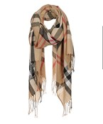 Plaid Print Oblong Scarf