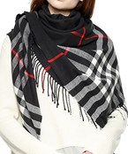 Plaid Blanket Scarf w/ Fringe